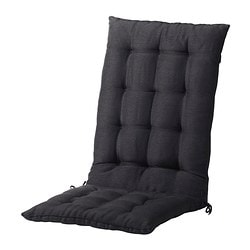 HÅLLÖ seat/back cushion, outdoor, black Length: 116 cm Width: 47 cm Back height: 68 cm