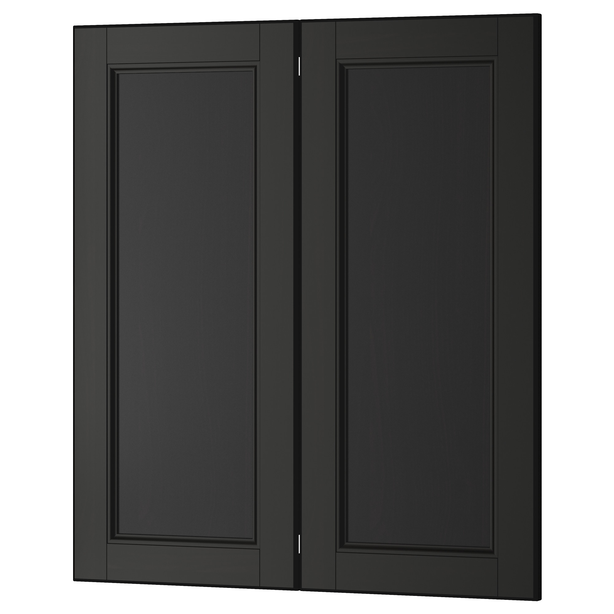 laxarby 2 p doorcorner base cabinet set black brown width - Ikea Black Kitchen Cabinets