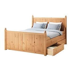 HURDAL bed frame with 4 storage boxes, light brown, Luröy Length: 211 cm Width: 165 cm Footboard height: 84 cm