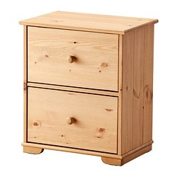 HURDAL chest of 2 drawers, light brown Width: 53 cm Width of drawer: 42 cm Depth: 37 cm