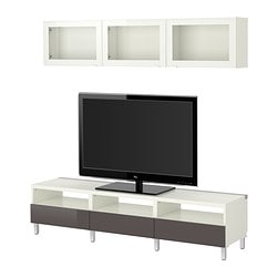 "BESTÅ TV storage combination, Tofta high-gloss/gray clear glass, white Min. depth: 7 7/8 "" Max. depth: 15 3/4 "" Height: 65 3/8 "" Min. depth: 20 cm Max. depth: 40 cm Height: 166 cm"