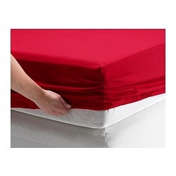 "DVALA fitted sheet, red Thread count: 144 square inches Length: 79 "" Width: 55 "" Thread count: 144 square inches Length: 200 cm Width: 140 cm"