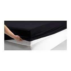 DVALA fitted sheet, black Thread count: 144 /inch² Length: 200 cm Width: 150 cm