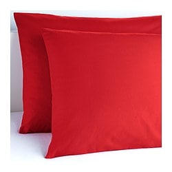 "DVALA pillowcase, red Thread count: 144 square inches Length: 20 "" Width: 30 "" Thread count: 144 square inches Length: 51 cm Width: 76 cm"