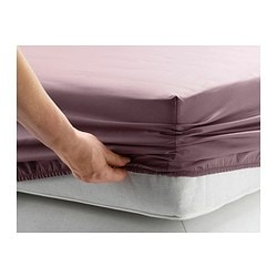 GÄSPA fitted sheet, dark lilac Thread count: 310 /inch² Length: 200 cm Width: 90 cm