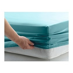 GÄSPA fitted sheet, turquoise Thread count: 310 /inch² Length: 200 cm Width: 150 cm