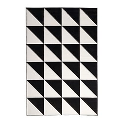"SILLERUP rug, low pile, black/white Length: 9 ' 10 "" Width: 6 ' 7 "" Area: 64.58 sq feet Length: 300 cm Width: 200 cm Area: 6.00 m²"