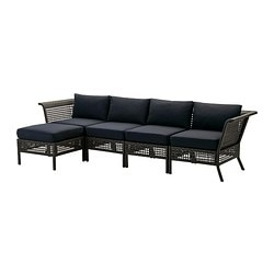 KUNGSHOLMEN /  KUNGSÖ 4-seat sofa with footstool, outdoor, black-brown Depth: 80 cm Width right: 284 cm Width left: 142 cm