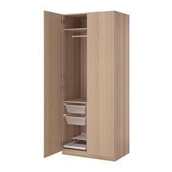 "PAX wardrobe, white stained oak effect, Nexus white stained oak veneer Width: 39 1/4 "" Depth: 23 3/4 "" Height: 93 1/8 "" Width: 100 cm Depth: 60 cm Height: 236.4 cm"