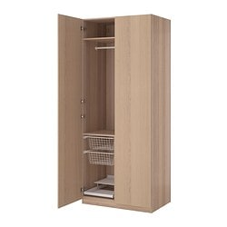 "PAX wardrobe, Nexus white stained oak veneer, white stained oak effect Width: 39 1/4 "" Depth: 23 3/4 "" Height: 93 1/8 "" Width: 100 cm Depth: 60 cm Height: 236.4 cm"