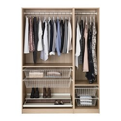 PAX wardrobe, white stained oak effect Width: 150 cm Depth: 58 cm Height: 201.2 cm