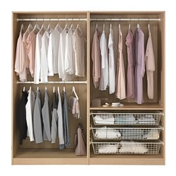 PAX wardrobe, white stained oak effect Width: 200 cm Depth: 58 cm Height: 201.2 cm