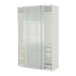 pax kleiderschrank sekken frostglas wei breite 150 cm. Black Bedroom Furniture Sets. Home Design Ideas