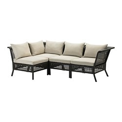 "KUNGSHOLMEN /  HÅLLÖ 4-seat sectional, outdoor, beige, black-brown Depth: 31 1/2 "" Width right: 87 3/8 "" Width left: 55 7/8 "" Depth: 80 cm Width right: 222 cm Width left: 142 cm"