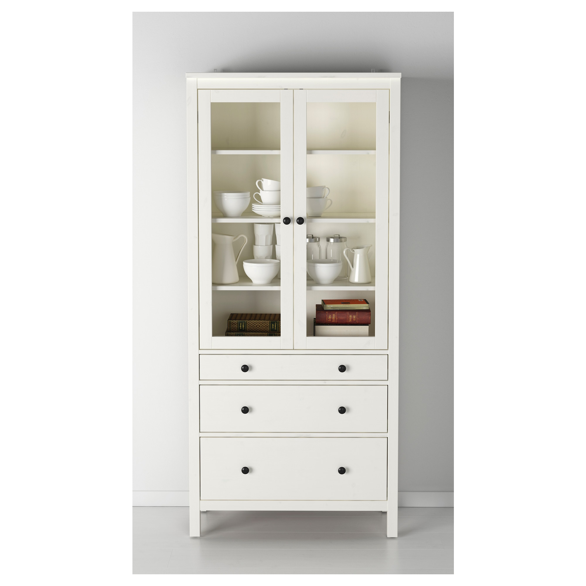 HEMNES Glass-door cabinet with 3 drawers - white stain - IKEA