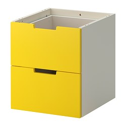 NORDLI modular chest of 2 drawers, white, yellow Width: 40 cm Width of drawer: 33 cm Depth: 41 cm