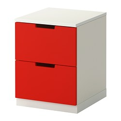 NORDLI chest of 2 drawers, red, white Width: 40 cm Depth: 43 cm Depth of drawer: 39 cm