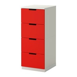 NORDLI chest of 4 drawers, white, red Width: 40 cm Depth: 43 cm Depth of drawer: 39 cm