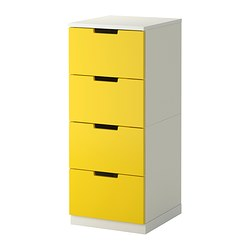 "NORDLI 4-drawer chest, white, yellow Width: 15 3/4 "" Depth: 16 7/8 "" Depth of drawer: 15 3/8 "" Width: 40 cm Depth: 43 cm Depth of drawer: 39 cm"