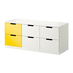 "NORDLI 6-drawer dresser, yellow, white Width: 47 1/4 "" Depth: 16 7/8 "" Depth of drawer: 15 3/8 "" Width: 120 cm Depth: 43 cm Depth of drawer: 39 cm"