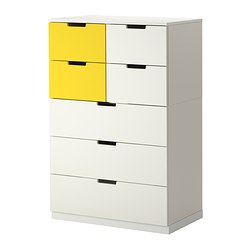 "NORDLI 7-drawer dresser, yellow, white Width: 31 1/2 "" Depth: 16 7/8 "" Depth of drawer: 15 3/8 "" Width: 80 cm Depth: 43 cm Depth of drawer: 39 cm"