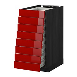 METOD /  FÖRVARA base cabinet 8 fronts/8 low drawers, Ringhult red, black Width: 40.0 cm Depth: 61.8 cm Frame, depth: 60.0 cm