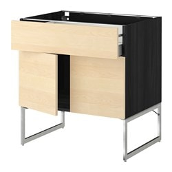 METOD /  MAXIMERA base cabinet/shelves/drawer/2 doors, Haganäs birch, black Width: 80 cm Depth: 61.6 cm Frame, depth: 60 cm