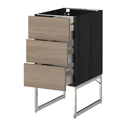METOD /  MAXIMERA base cab 3 fronts/3 medium drawers, Brokhult light grey, black Width: 40 cm Depth: 61.8 cm Frame, depth: 60 cm