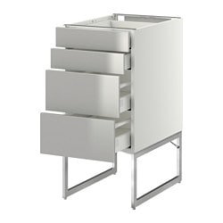METOD /  MAXIMERA base cab 4 fronts/2 low/2 md drwrs, Grevsta stainless steel, white Depth: 61.8 cm Frame, depth: 60 cm Frame, height: 60 cm