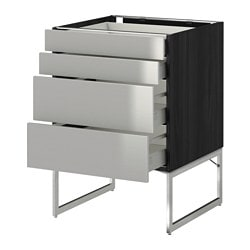 METOD /  MAXIMERA base cab 4 fronts/2 low/2 md drwrs, Grevsta stainless steel, black Width: 60 cm Depth: 61.8 cm Frame, depth: 60 cm