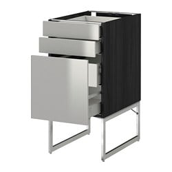 METOD /  MAXIMERA base cab 3 fronts/2 low/2 med drwrs, Grevsta stainless steel, black Width: 40 cm Depth: 61.8 cm Frame, depth: 60 cm