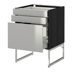 METOD /  MAXIMERA base cab 3 fronts/2 low/2 med drwrs, Grevsta stainless steel, black Width: 60 cm Depth: 61.8 cm Frame, depth: 60 cm