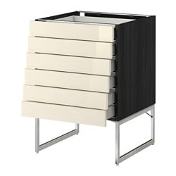 METOD /  MAXIMERA base cabinet 6 fronts/6 low drawers, Ringhult yellow-white, black Width: 60 cm Depth: 61.8 cm Frame, depth: 60 cm