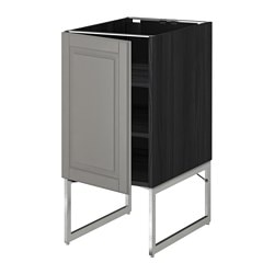 METOD base cabinet with shelves, Bodbyn grey, black Width: 40 cm Depth: 61.9 cm Frame, depth: 60 cm
