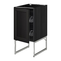 METOD base cabinet with wire baskets, Laxarby black-brown black-brown, black Width: 40 cm Depth: 62.0 cm Frame, depth: 60 cm