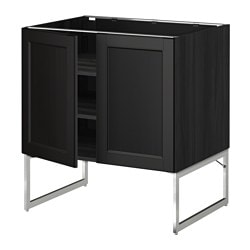 METOD base cabinet with shelves/2 doors, Laxarby black-brown, black Width: 80 cm Depth: 62.0 cm Frame, depth: 60 cm
