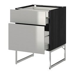 METOD /  MAXIMERA base cab 2 frnts/2 low/1 hi drwr, Grevsta stainless steel, black Width: 60 cm Depth: 61.8 cm Frame, depth: 60 cm