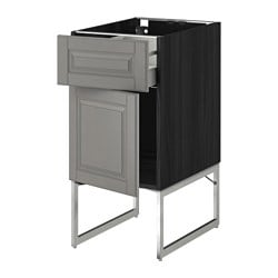 METOD /  MAXIMERA base cabinet with drawer/door, Bodbyn grey, black Width: 40 cm Depth: 61.9 cm Frame, depth: 60 cm