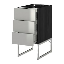 METOD /  FÖRVARA base cab 3 fronts/3 medium drawers, Grevsta stainless steel, black Width: 40 cm Depth: 61.8 cm Frame, depth: 60 cm