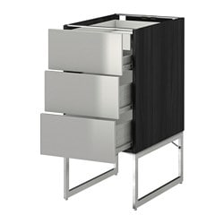 METOD /  FÖRVARA base cab 3 fronts/2 low/2 med drwrs, Grevsta stainless steel, black Width: 40 cm Depth: 61.8 cm Frame, depth: 60 cm