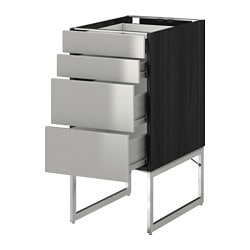 METOD /  FÖRVARA base cab 4 fronts/2 low/2 md drwrs, Grevsta stainless steel, black Width: 40 cm Depth: 61.8 cm Frame, depth: 60 cm