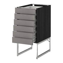 METOD /  FÖRVARA base cabinet 6 fronts/6 low drawers, Bodbyn grey, black Width: 40 cm Depth: 61.9 cm Frame, depth: 60 cm