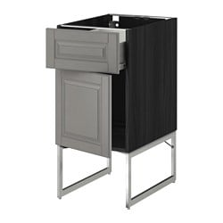 METOD /  FÖRVARA base cabinet with drawer/door, Bodbyn grey, black Width: 40 cm Depth: 61.9 cm Frame, depth: 60 cm