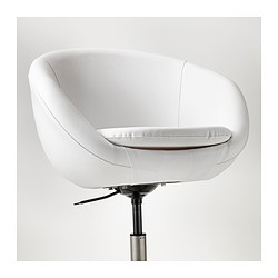 "SKRUVSTA swivel chair, Idhult white Tested for: 242 lb 8 oz Min. height: 31 1/8 "" Max. height: 33 7/8 "" Tested for: 110 kg Min. height: 79 cm Max. height: 86 cm"