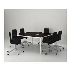 Bekant conference table black brown white 140x140 cm for Table 140x140