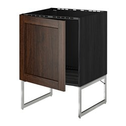 METOD base cabinet for sink, Edserum brown, black Width: 60 cm Depth: 61.8 cm Frame, depth: 60 cm