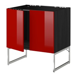 METOD base cabinet for sink + 2 doors, Ringhult red, black Width: 80 cm Depth: 61.8 cm Frame, depth: 60 cm