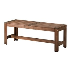 ÄPPLARÖ bench, outdoor, brown stained brown Width: 114 cm Depth: 41 cm Height: 44 cm