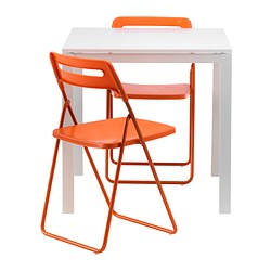 MELLTORP /  NISSE table and 2 folding chairs, orange, white Length: 75 cm Width: 75 cm Height: 72 cm