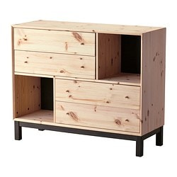 NORNÄS chest of 4 drawers/2 compartments, grey, pine Width: 108 cm Depth: 40 cm Height: 88 cm
